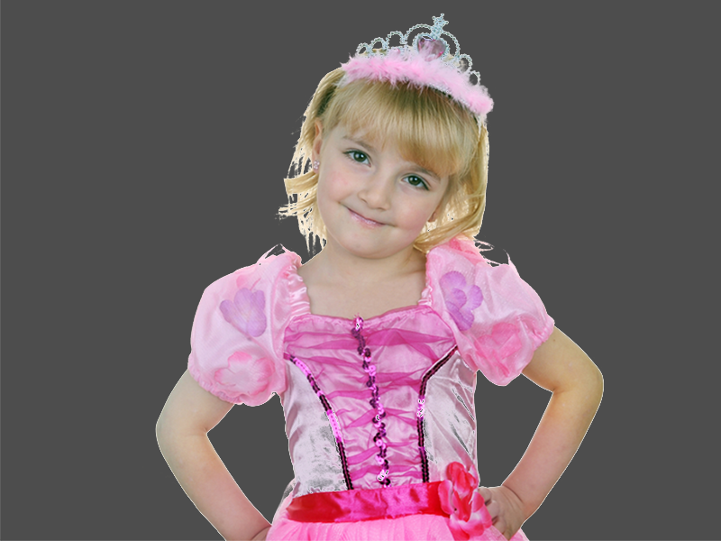 Small girl dressed in pink princess costume with tiara during princess program