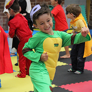 Kid dressed as a Superhero at our Kids Birthday Parties Melbourne