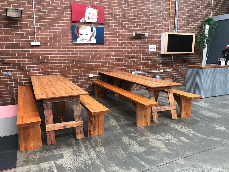Two Trestle Tables in Party Food Area